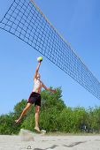Very Tall Teenager (Above 2M Height) Plays Beach Volleyball