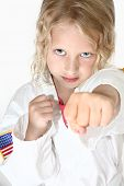 Blond Six Year Old Girl Doing Martial Arts