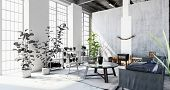 Interior of stylish modern penthouse apartment with large windows, houseplants and partition wall. 3 poster