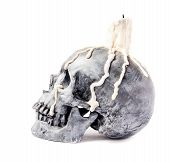 Scary Halloween Skull With Melted Candle