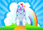 Invitation card with Magic Fairy Tale Princess Castle