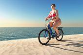 overweight woman ride on bike on summer beach