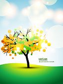 picture of fall trees  - vector tree on stylish background - JPG