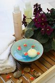 A setting for a spa beauty treatment consisting of a bowl of floral scented water and pebbles for st