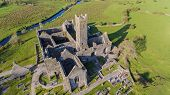 Aerial View Of An Irish Public Free Tourist Landmark, Quin Abbey, County Clare, Ireland. Aerial Land poster