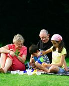 picture of priceless  - Grandparents enjoying the summer outdoor entertaining the grandchildren - JPG