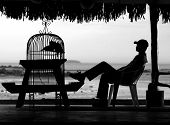 Sitting By The Sea Bw