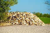 foto of chub  - A huge pile of chubbed wood with blue sky - JPG