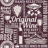 Retro Styled Typographic Vector Wine Seamless Pattern Or Background poster