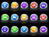Transportation Icon on Button with Metallic Rim Collection Original Illustration