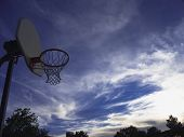 The Basketball Hoop Against The Blue Sky.