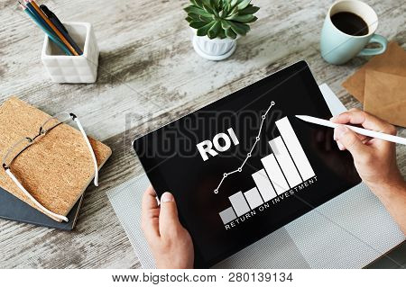 poster of Roi, Return On Investment, Business And Financial Concept.