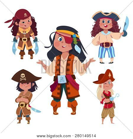 Cartoon Character Girl Pirates Isolated