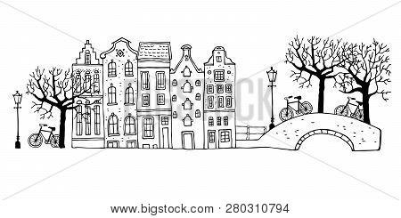 Amsterdam Street Scene Vector Outline