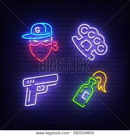 Gangster Icon Set Bright Signboard