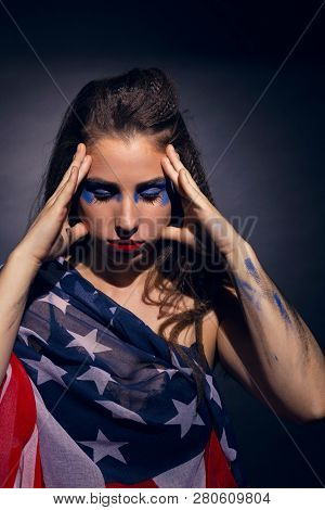 Woman Covered With An American