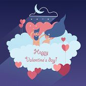 Lovely Couple Soaring On A Cloud With Valentines, On Blue Night Sky Background With Moon And Stars poster