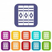 Three Literary Books Icons Set Illustration In Flat Style In Colors Red, Blue, Green, And Other poster