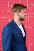 Manager Dress Code. Man Well Groomed Manager Wear Elegant Formal Suit Pink Background. Manager Confi poster