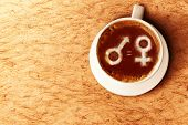 Symbol Of Male Gender Is Equal To Female In The Coffee Cup. Equality Gender Concept poster