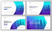 Landing Pages Templates Set For Business. Modern Web Page Design Concept Layout For Website. Vector  poster