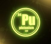 Plutonium Chemical Element. Sign With Atomic Number And Atomic Weight. Chemical Element Of Periodic  poster