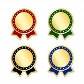 Award Ribbons Isolated Set. Gold Design Medal, Label, Badge, Certificate. Symbol Best Sale, Price, Q poster