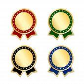 Award Ribbons Isolated Set. Gold Design Medal, Label, Badge, Certificate. Symbol Best Sale, Price, Q poster