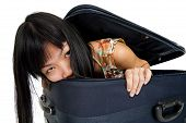 Woman Inside Luggage