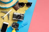 Summer Travel Fashion And Accessories Travel Top View Flatlay On Blue Pink Pastel poster
