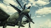 Propeller From Military Aircraft, Powerfull Propeller From Old Aircraft, Clouds, Sky poster