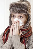 Young woman having a flu