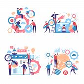 Promotion Characters. Business People Advertise Announcing Campaigns Through Pas Vector Concept Pict poster