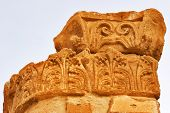 A column on excavation of a palace of tsar of the Tyrant in Israel