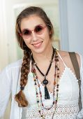 A Portrait Of Beautiful Smiling Hippie Girl poster