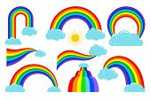 Colored Rainbows With Clouds Collection. Rainbow In Sky, Weather Cloud, Vector Illustration poster