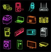 Smart Home Appliances Neon Icons In Set Collection For Design. Modern Household Appliances Vector Sy poster