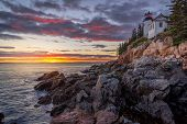 Bass Harbor Head Lighthouse At Sunset - Acadia National Park Maine United States poster