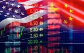 Trade War Economy Usa America And China Flag Candlestick Graph Stock Market Exchange Analysis / Indi poster