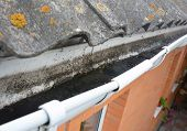 Dirt In Roof Gutter. House Asbestos Roof With Rain Gutter And Dirt Need To Clean poster
