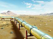 Modern gas pipeline running through a desert landscape. Digital illustration.