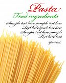 Italian pasta on a white background. The place for text on the right conner.