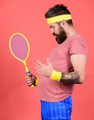 Tennis Sport. Man Bearded Hipster Wear Old School Sport Outfit With Bandages. Athlete Hold Tennis Ra poster