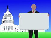 image of lobbyist  - man with blank sign outside Capitol Building Washington DC - JPG