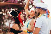 Couple In Costume Celebrating The Carnival Party In Brazil poster