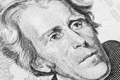 Close Up View Portrait Of Andrew Jackson On The One Twenty Dollar Bill. Background Of The Money. 20  poster