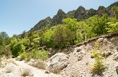 picture of stagecoach  - Tejas Canyon rocky cliffs - JPG
