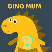 Cute Dino Mum With A Little Dinosaur. Dino Girl Color Flat Hand Drawn Vector Character. Cute Yellow  poster