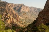 Chisos Mountain entrance canyon at sunrise