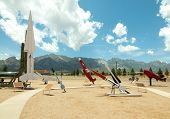 stock photo of missles  - White Sands Missile Range Museum outdoor missle and rocket display - JPG